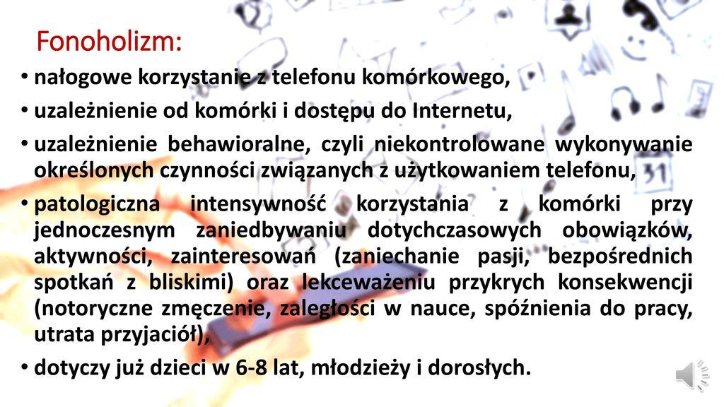 Slajd podsumowujący czym jest zjawisko fonoholizmu.